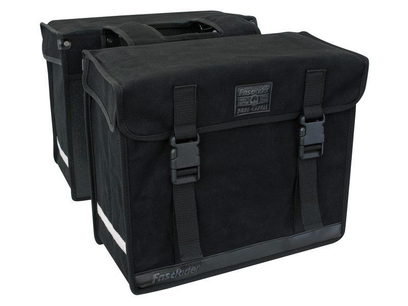 b4b42d30da2 FastRider double bicycle bag canvas 65.5 liters black - Internet-Bikes