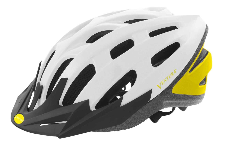 ventura fahrradhelm mit visier wei gelb gr e 58 62 cm. Black Bedroom Furniture Sets. Home Design Ideas