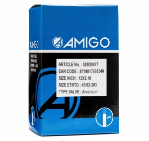 AMIGO inner tube 12 x 2.10 (47/63-203) AV 48 mm