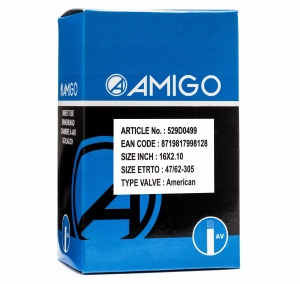 AMIGO Inner tube 16 x 2.10 (47/62-305) AV 48 mm