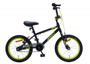 AMIGO BMX Danger 16 pouces 25,4 cm Junior V-Brake Noir/Jaune