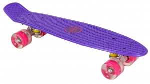 AMIGO skateboard with LED lighting 55.5 cm purple/pink