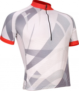 Avento wielrenshirt Print polyester zilver/wit/rood