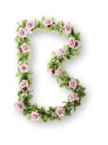 Basil Flower strand Flower Garland with roses 120 cm pink