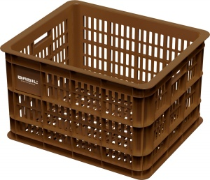 Basil bike crate plastic 33 litres brown