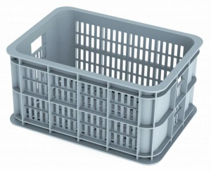 Basil bike crate Silver Cloudplastic 25 litres grey