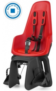 Bobike One Maxi fietszitje achter strawberry red