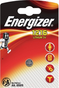 Energizer battery button cell Lithium 3V CR1216 per piece