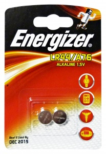 Energizer button cell battery LR44/A76 Alkaline 1.5V 2 pieces