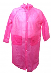 Free and Easy regenponcho lang met capuchon unisex roze