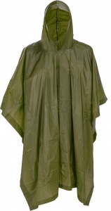 Free and Easy raincoat with hood unisex army green one size-S