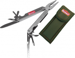 Happy People multitool Scout 9,5 x 2,6 cm staal zilver 2-delig