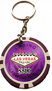 LG-Imports keychain poker chip 500 purple