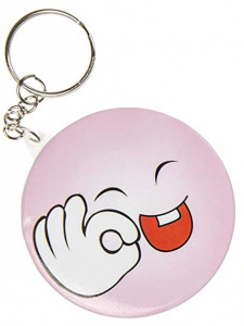 LG-Imports key ring smiley junior 5.8 cm pink