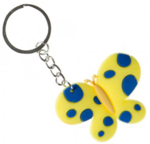 LG-Imports key ring butterfly girls 5.5 cm rubber yellow