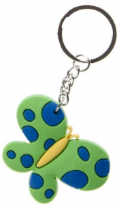 LG-Imports key ring butterfly girls 5.5 cm rubber green