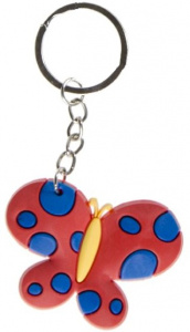 LG-Imports key ring butterfly girls 5.5 cm rubber red