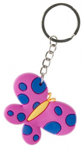 LG-Imports key ring butterfly girls 5.5 cm rubber fuchsia