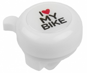 M-Wave Steel Bicycle bell 3D Picture I Love My Bike White