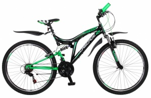 Magic Cascade 26 Inch Heren 18V V-Brake Zwart/Groen
