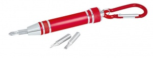Moses screwdriver with carabiner 8 cm red