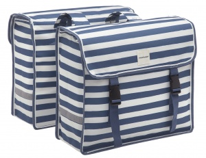 New Looxs double pannier Fiori30 litres striped blue/white