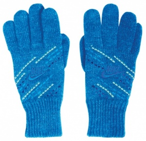 Nike knitted gloves ladies blue
