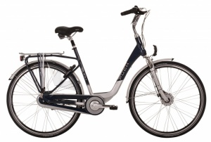 Puch Brilliant 28 Inch Dames 8V Rollerbrakes Blauw/Zilver