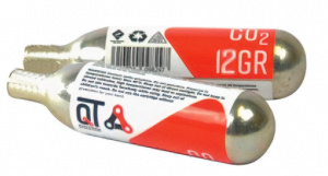QT Cycletech Co2 cartridge without thread 12 grams silver