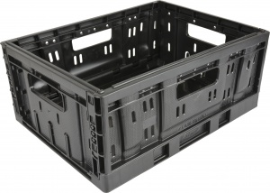 Steco plastic folding crate small 20 litres foldable black