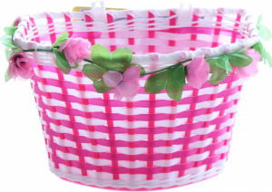 Volare bike basket flowers girls 6 liters fuchsia/white