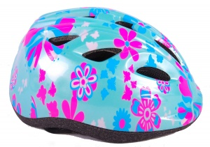Volare children's helmet flowers 47-51 cm blue/pink