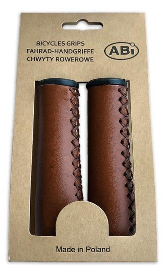 ABI handvatten 120 mm kunstleer bruin per set