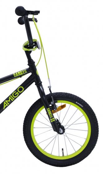 AMIGO BMX Danger 16 Inch 25,4 cm Junior V Brakes Zwart/Geel