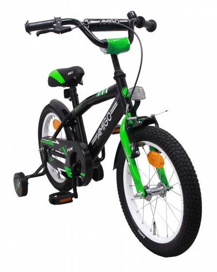 AMIGO BMX Fun 16 Inch 28 cm Jongens Terugtraprem Groen/Matzwart