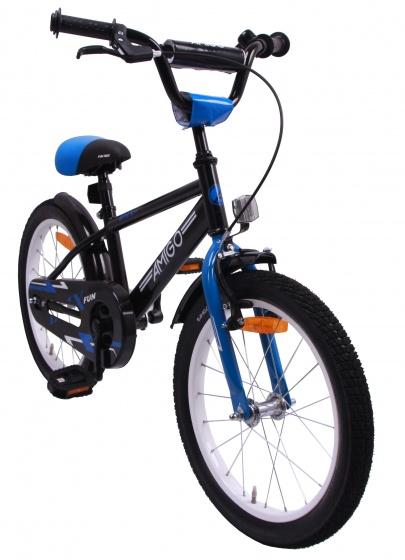 AMIGO BMX Fun 18 Inch 24 cm Jongens Terugtraprem Zwart/Blauw