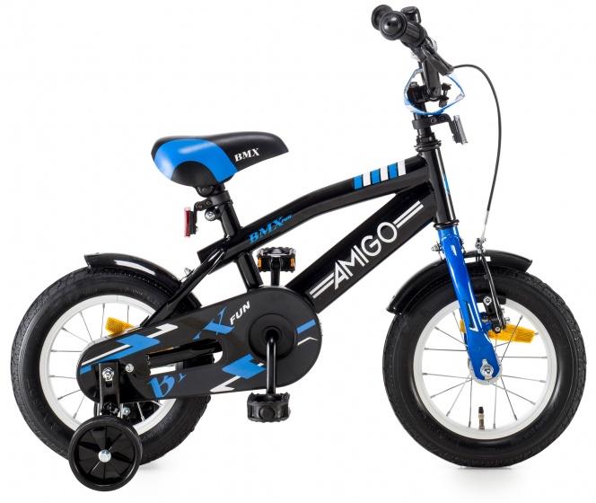 AMIGO BMX Fun kinderfiets 12 Inch 21 cm Jongens Terugtraprem Zwart/Blauw