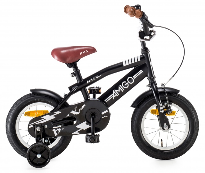 AMIGO BMX Fun kinderfiets 12 Inch 21 cm Jongens Terugtraprem Matzwart