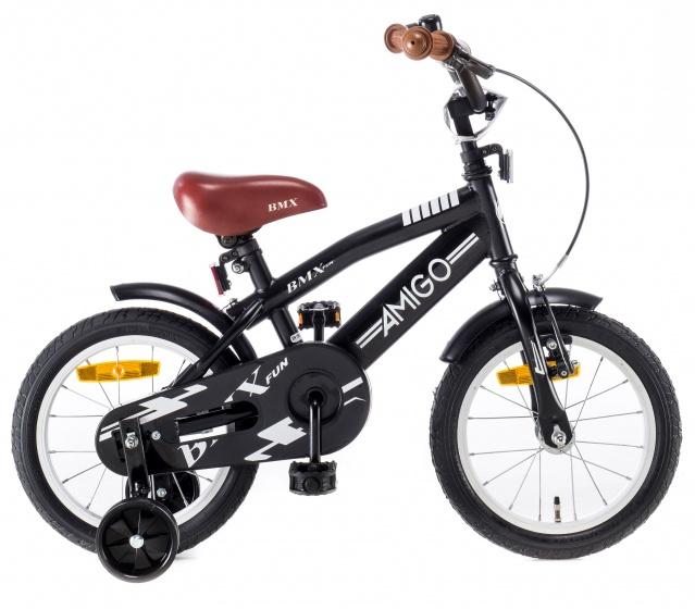 AMIGO BMX Fun kinderfiets 14 Inch 21,5 cm Jongens Terugtraprem Matzwart