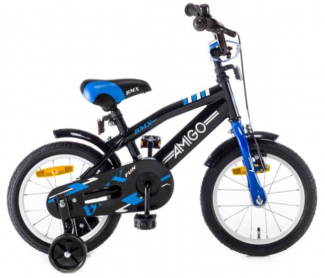 AMIGO BMX Fun kinderfiets 14 Inch 21,5 cm Jongens Terugtraprem Zwart/Blauw