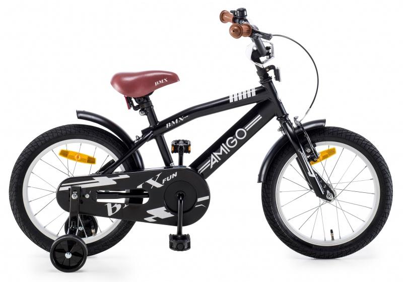 AMIGO BMX Fun kinderfiets 16 Inch 27 cm Jongens Terugtraprem Matzwart