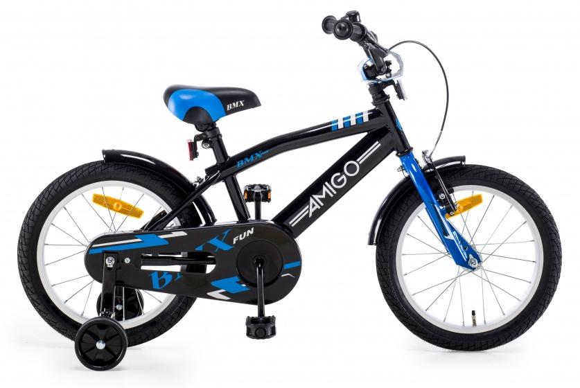AMIGO BMX Fun kinderfiets 16 Inch 27 cm Jongens Terugtraprem Zwart/Blauw