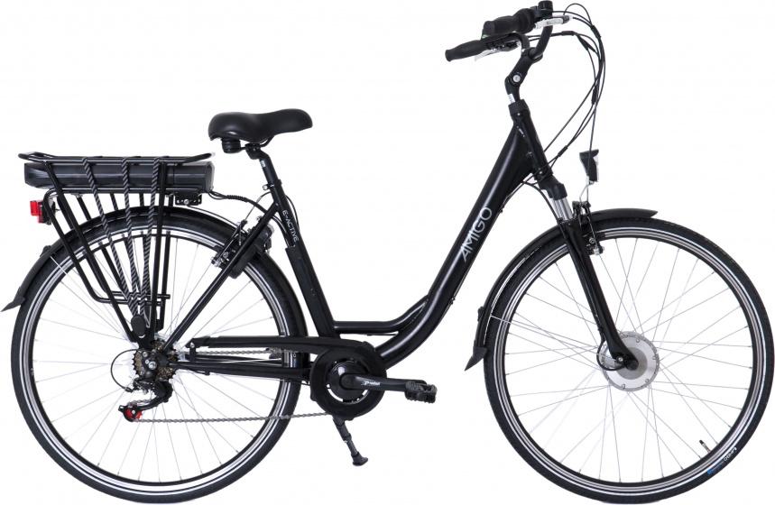 AMIGO E Active 28 Inch 50 cm Dames 7V V Brakes Matzwart - Elektrische fiets