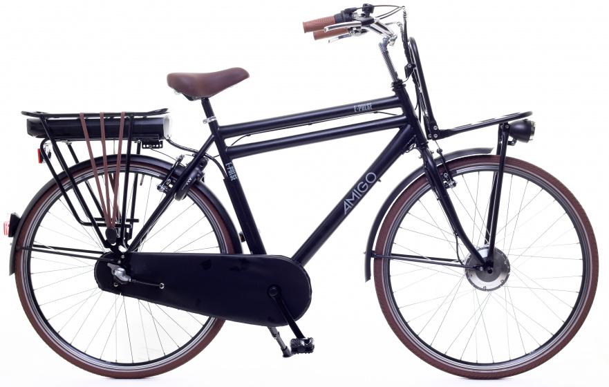 AMIGO E Pulse 28 Inch 53 cm Heren 3V Terugtraprem Matzwart - Elektrische fiets