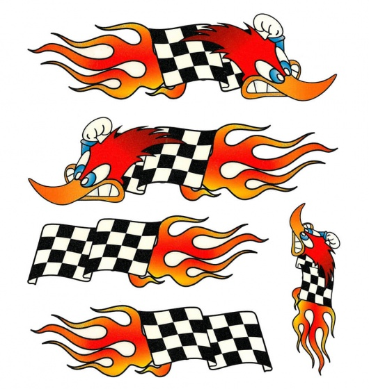 tom fietsstickers woodpeckerflag oranje zwart wit