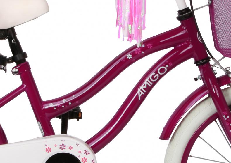 neu AMIGO FLOWER 14 Zoll 22 cm Mädchen Coaster bicycle fahrrad Bordeaux