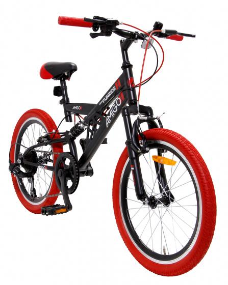 AMIGO Fun Ride 20 Inch 33 cm Junior 7V V Brakes Zwart/Rood