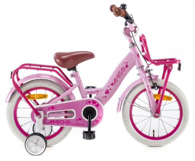 AMIGO Sweetheart kinderfiets 14 Inch 21,5 cm Meisjes Terugtraprem Roze