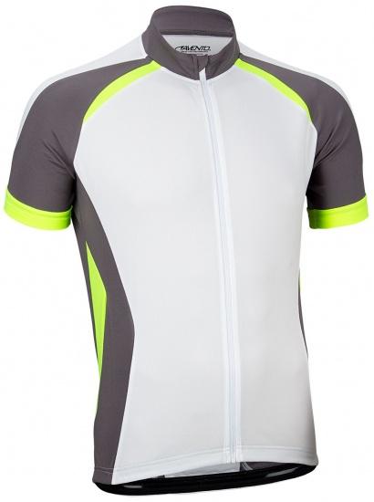 Avento Fietsshirt korte mouw heren wit/antraciet/fluorgeel maat M