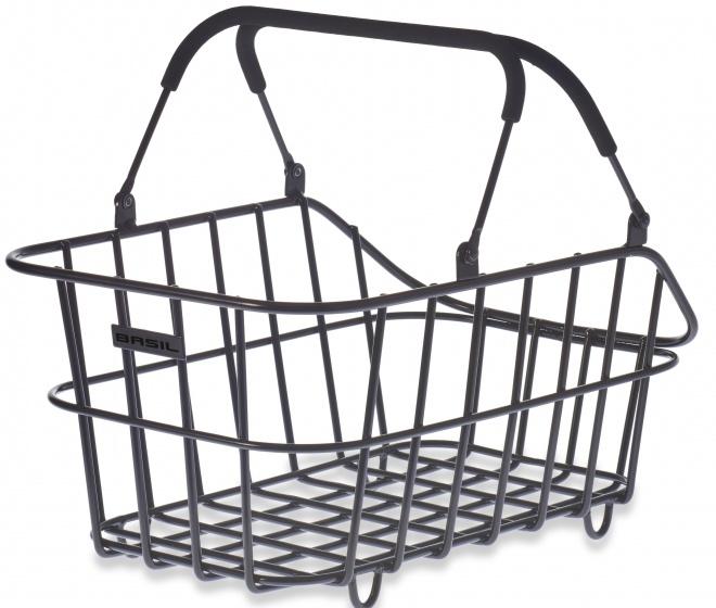 Basil fietsmand Cento achter afneembaar mat zwart 30 liter